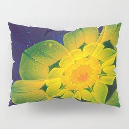 Fresh Blue, Green, and Yellow Fractal GerberaDaisy Pillow Sham