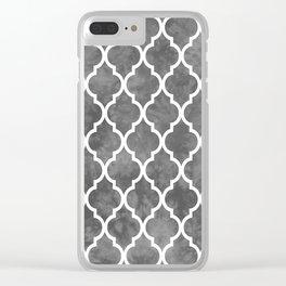 Classic Quatrefoil Lattice Pattern 915 Gray Clear iPhone Case
