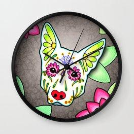 German Shepherd in White - Day of the Dead Sugar Skull Dog Wall Clock