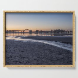 Siuslaw River Bridge and Florence at Dusk, No. 2 Serving Tray
