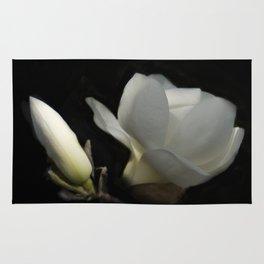 Yulan-Magnolia and bud on black -2- Rug