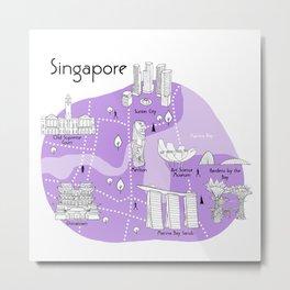 Singapore Map - Purple Metal Print