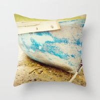 cape cod Throw Pillows featuring cape cod blue by Finch & Maple