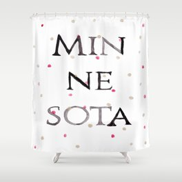 Minnesota Collegiate Print With Gold and Maroon Details Shower Curtain