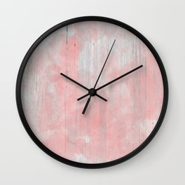 Abstract rustic of white wood pink watercolor Wall Clock