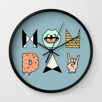 garfield Wall Clocks featuring MONDAY by Wesley Bird