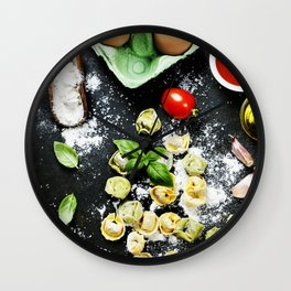 Homemade raw Italian tortellini Wall Clock