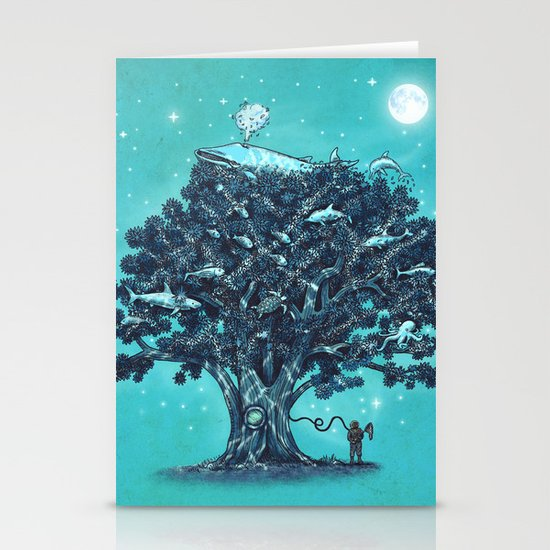 Deep Tree Diving  Stationery Cards