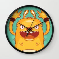 punk rock Wall Clocks featuring Punk Rock Monster by Real illusion