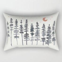 Nighttime Watercolor Forest Rectangular Pillow