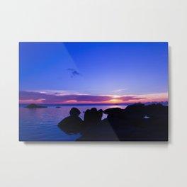 Blue sunset by rock beach Metal Print