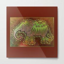 Elephant Orange Metal Print