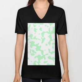 Large Spots - White and Mint Green Unisex V-Neck
