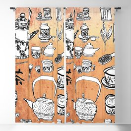 Chinese Tea Doodles 2 Blackout Curtain