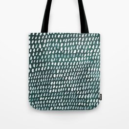 White and Teal Dots Pattern Tote Bag