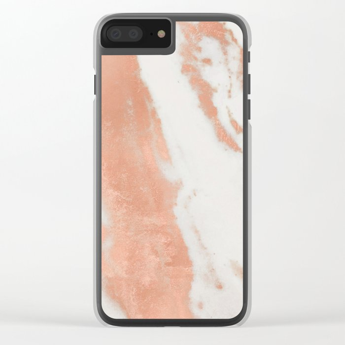 Marble Rose Gold Shimmer Light Clear iPhone Case