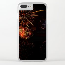 Fireworks Reflection In Water Panorama Clear iPhone Case
