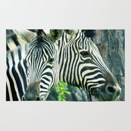 Zebras up close Rug