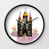 victorian Wall Clocks featuring Victorian House by Esthera Preda