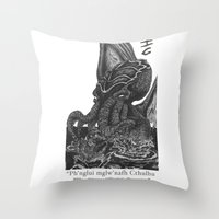 cthulhu Throw Pillows featuring Cthulhu by IG Design