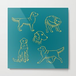 Golden Retriever Pattern (Teal Background) Metal Print