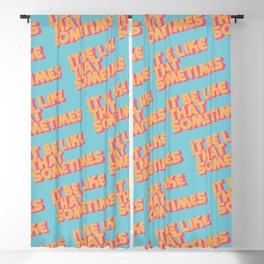 """It be like that sometimes"" Retro Blue Blackout Curtain"