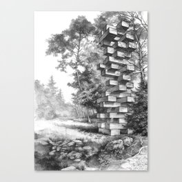 Jenga Tower Surrounded by Trees Canvas Print