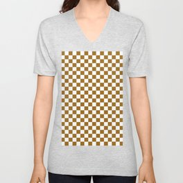 Small Checkered - White and Golden Brown Unisex V-Neck
