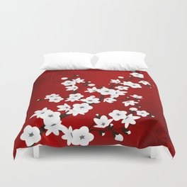 Red Black And White Cherry Blossoms Duvet Cover