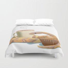 Banana snake, banana muffin, and chai latte Duvet Cover