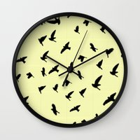 notebook Wall Clocks featuring Flying Birds on a notebook by Fun & Art