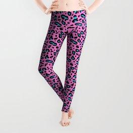 Pink & Blue Leopard Print Leggings
