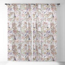 Pink tropical birds landscape I Sheer Curtain