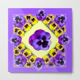 PURPLE GEOMETRIC  PURPLE & YELLOW  PANSIES  WITH CREAM COLOR Metal Print