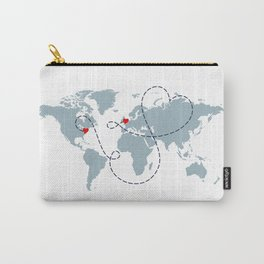 Long Distance World Map - UK to New York Carry-All Pouch