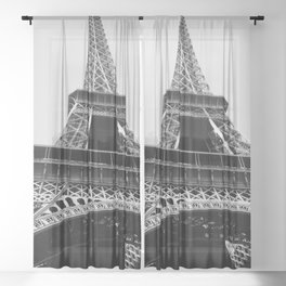 Eiffel Tower // Looking up at the World's Most Famous Monument in Paris France Classic Photograph Sheer Curtain