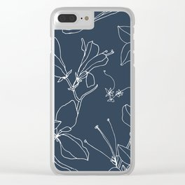 Drawings from Stonecrop Garden, Pattern in Navy Clear iPhone Case