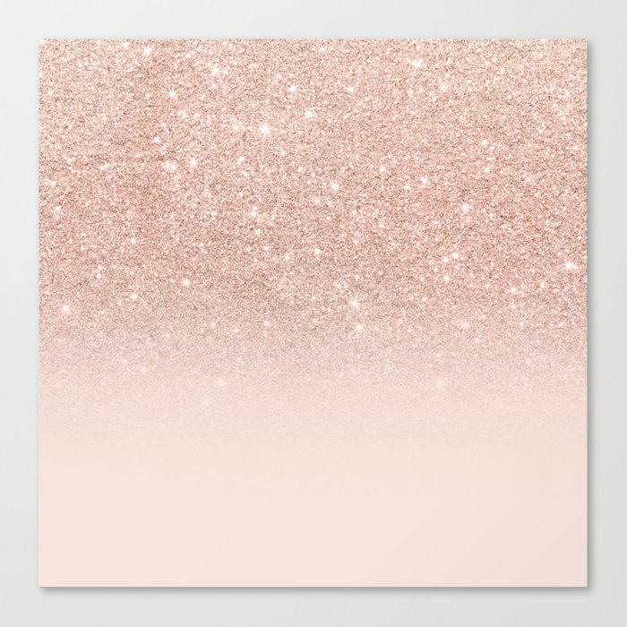 Rose gold faux glitter pink ombre color block Leinwanddruck