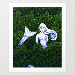 Mermaid at the Bottom of the Garden Art Print