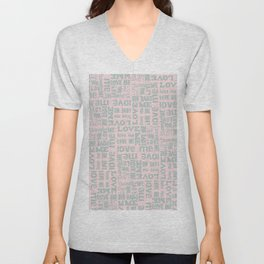 Valentine Love Me Typography Pattern - Mix & Match with Simplicty of life Unisex V-Neck