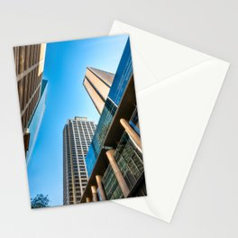 Low angle view perspective on Pitt Street in Sydney Stationery Cards