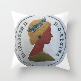 Queen Elizabeth - 25 cents - The Queens Mint Series Throw Pillow