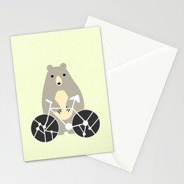 Bear with bike Stationery Cards