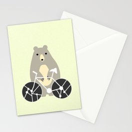 Bear with bike Stationery Cards