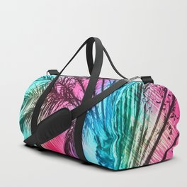 isolate palm tree with painting abstract background in pink and blue Duffle Bag