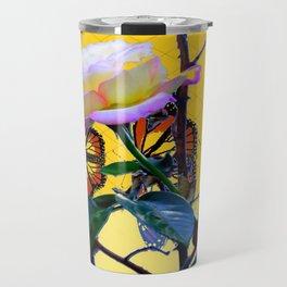 MONARCH BUTTERFLIES & ROSE ABSTRACT Travel Mug