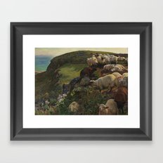William Holman Hunt , Our English Coasts, 1852 ('Strayed Sheep') 1852 Framed Art Print