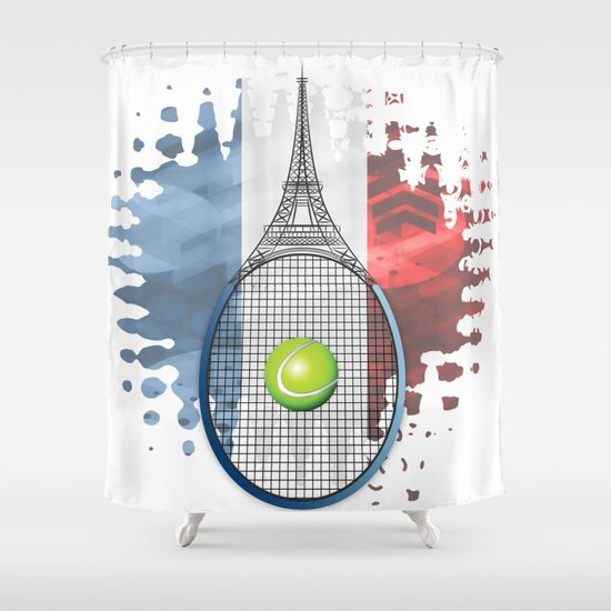 Racquet Eiffel Tower with French flag colors in background Shower Curtain