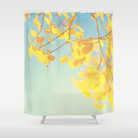 golden Shower Curtains featuring golden by Life Through the Lens