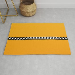NY Taxi Cab Yellow with Black and White Check Band Rug